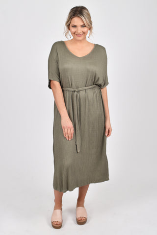 Nice Tie Dress in Textured Green