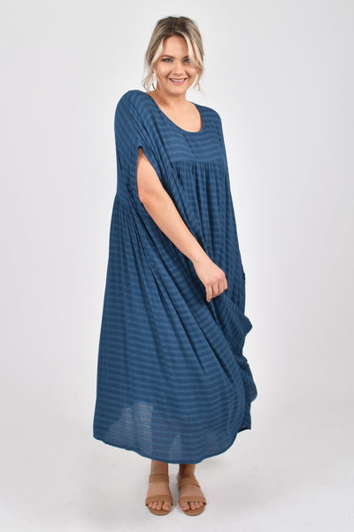 PRE-ORDER Opulent Dress in Navy Textured Stripe (ETA March 2020)