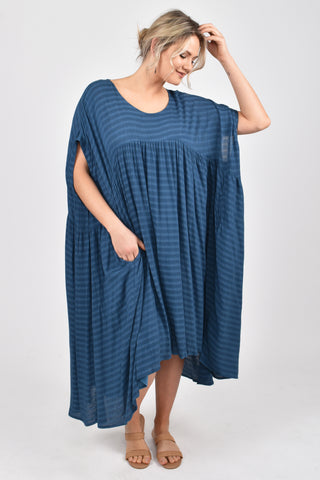 Opulent Dress in Navy Textured Stripe