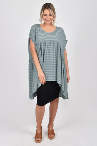 Opulent Top in Mint Textured Stripe