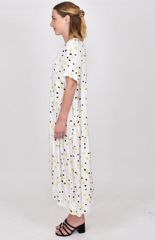 Short Sleeve Peak Maxi Dress in Golden Glow