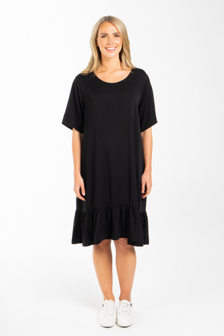 Short Sleeve Flare Dress in Black