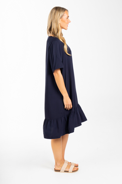 Short Sleeve Flare Dress in Navy