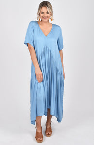 Short Sleeve Peak Maxi Dress in Sky