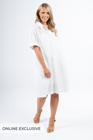 Shirt Dress in White Shell