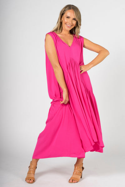 Sleeveless Peak Maxi Dress in Hot Pink