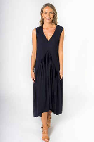 Sleeveless Peak Maxi Dress in Navy