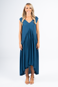 Sleeveless Peak Maxi Dress in Navy Textured Stripe
