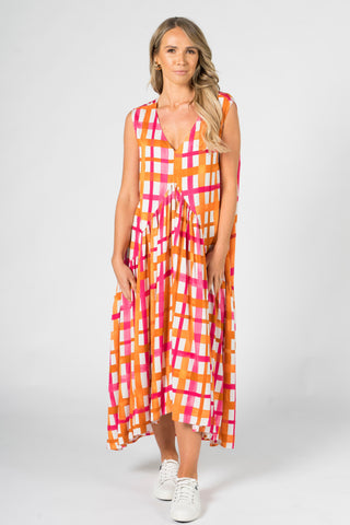 Sleeveless Peak Maxi Dress in Sunset Check