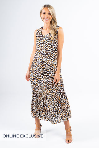 Smock Maxi Dress in Wild Leopard