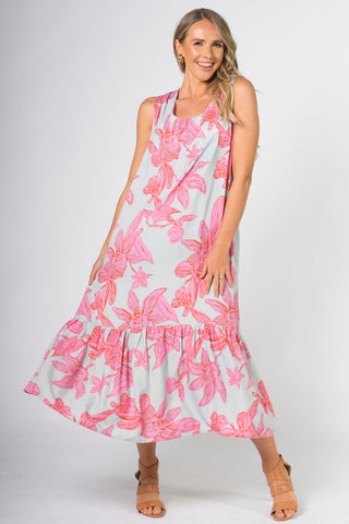 Smock Maxi Dress in Flamingo Daffodil