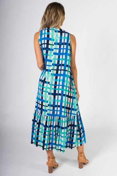 Smock Maxi Dress in Ocean Check