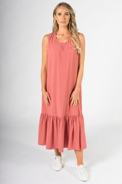 Smock Maxi Dress in Rouge