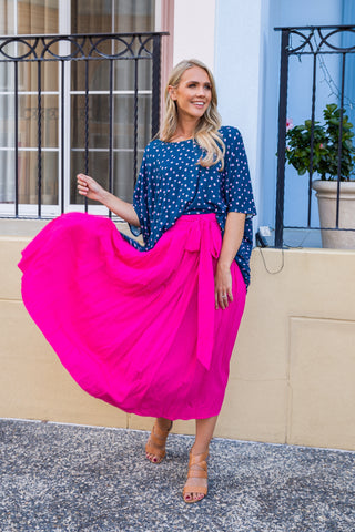 Twirl Tie Skirt in Hot Pink