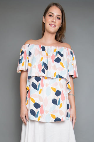 Lustre OTS Top in Pastel Petal