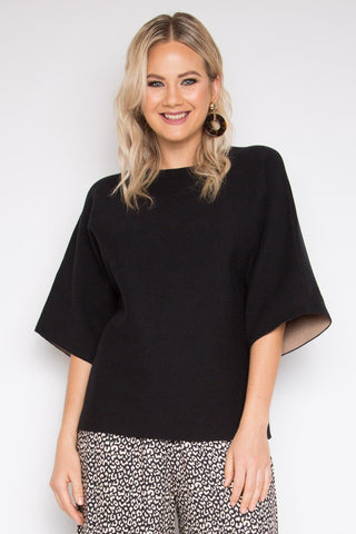 Two Tone Knit Top in Black