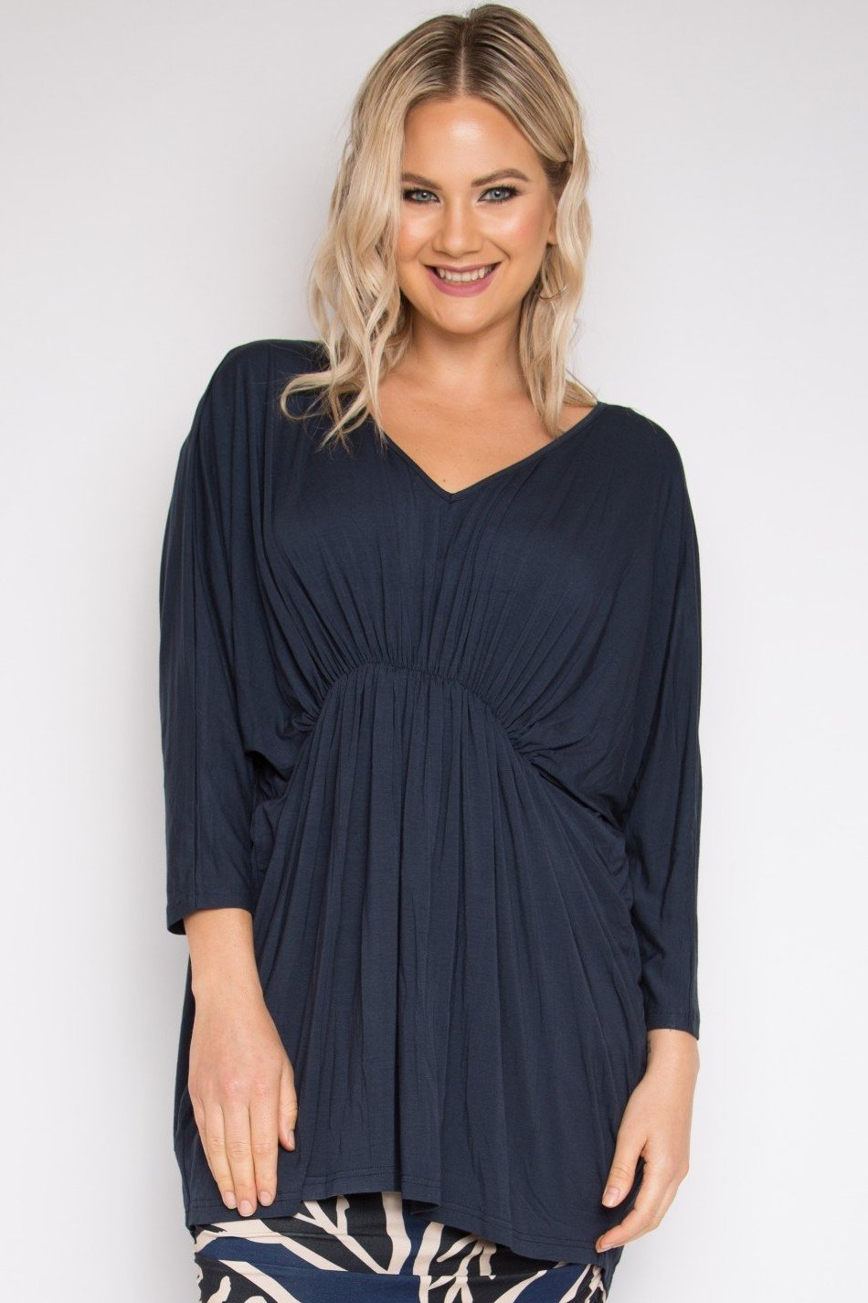 Bamboo Gathered Long Sleeve Hi-Low Miracle Top in Midnight
