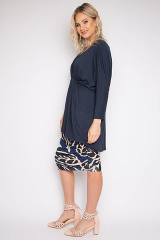 Gathered Long Sleeve Hi-Low Miracle Top in Midnight
