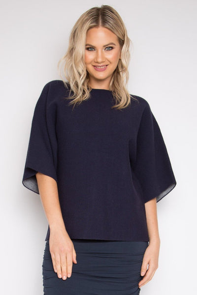 Two Tone Knit Top in Blueberry