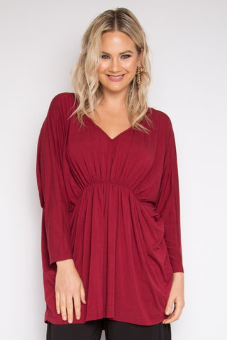 Gathered Long Sleeve Hi-Low Miracle Top in Black Cherry