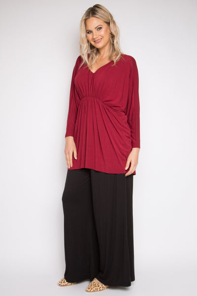 Bamboo Gathered Long Sleeve Hi-Low Miracle Top in Black Cherry