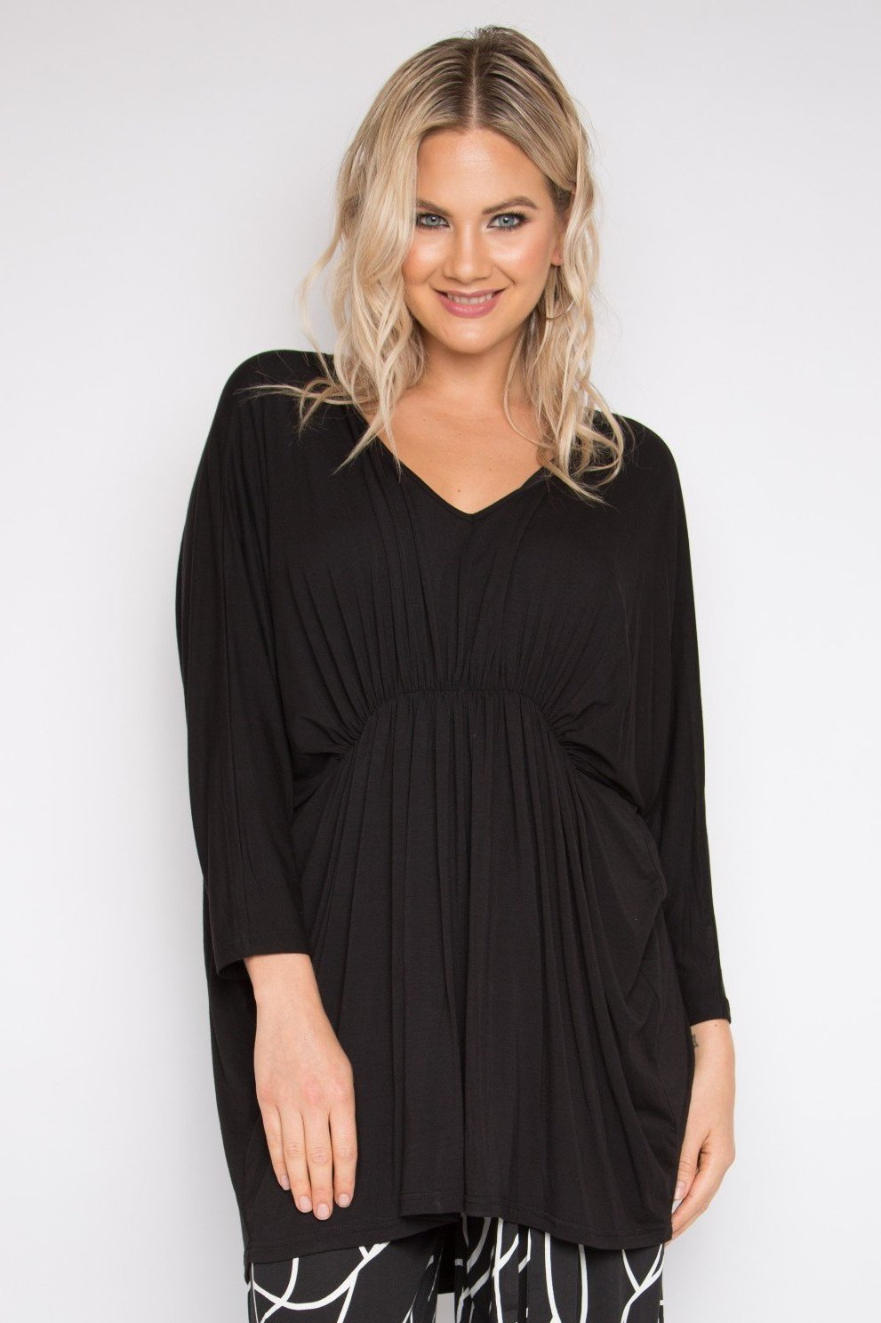 Gathered Long Sleeve Hi-Low Miracle Top in Black