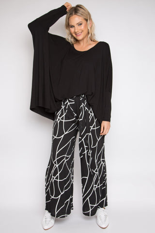 Tie Front Wide Leg Pant in Marble Malt