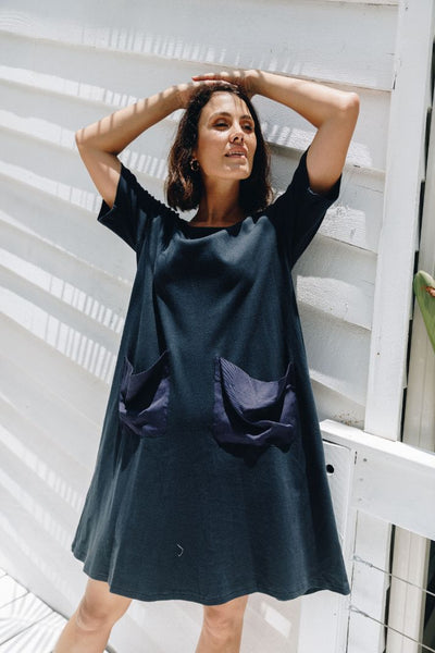 T-Shirt Pocket Dress in French Navy