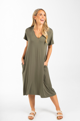 T-Shirt Dress in Khaki