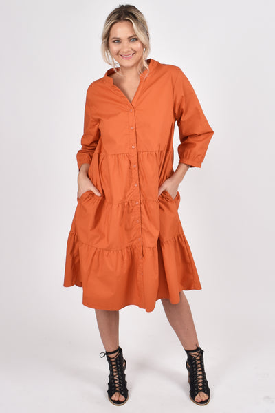 Tier Shirt Dress in Rust