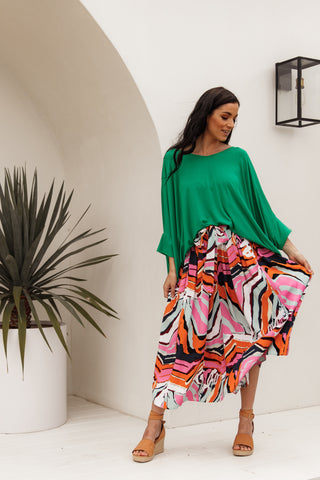 Twirl Tie Skirt in Tropical Zebra