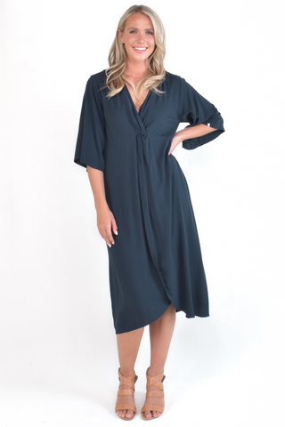 Twist Dress in Navy