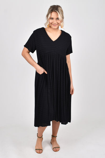Wander Dress in Black Textured Stripe