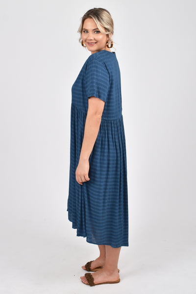 Wander Dress in Navy Textured Stripe