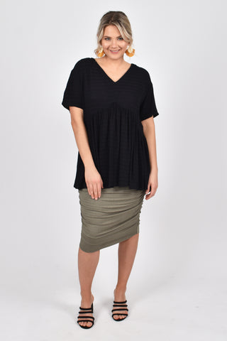 Wander Top in Black Textured Stripe