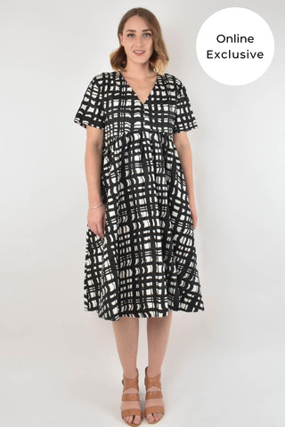 Wander Dress in Brushstroke Gingham