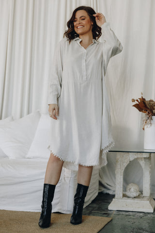 Wonder Shirt Dress in Sand
