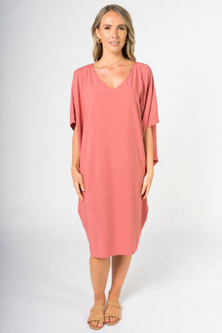 Woven Miracle Dress in Rouge