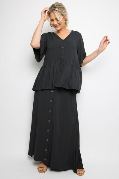Button Down Frill Top in Black