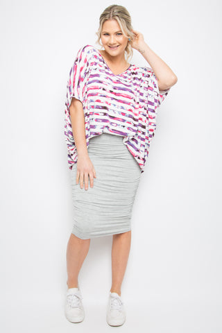 Hi Low Miracle Top in Sorbet Stripe