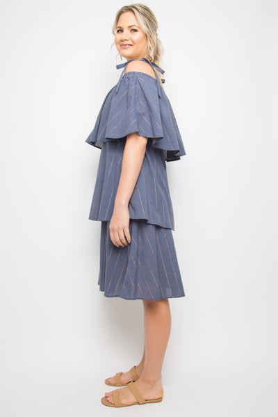 Layer Frill Dress in Navy Sunbeam