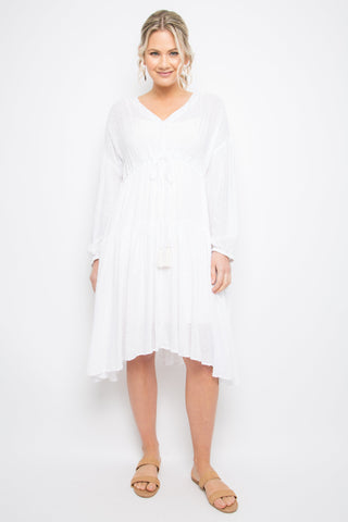 Long Sleeve Drawstring Dress in White Dot