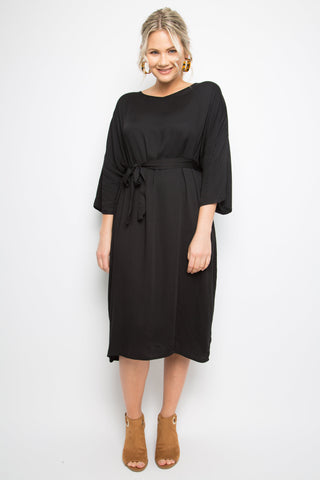 3/4 Sleeve Nice Tie Dress in Black