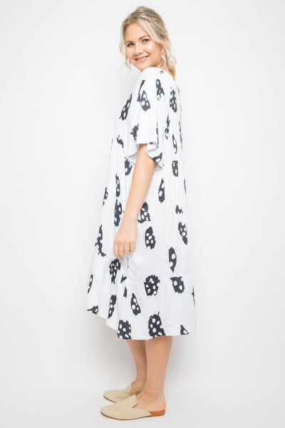 Short Sleeve Chic Dress in Sea Bubble