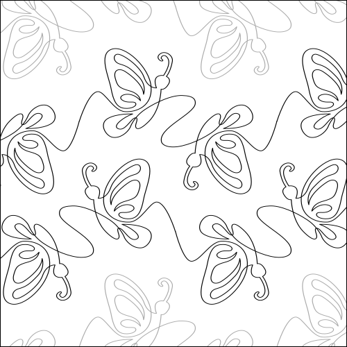 Butterfly Rose Flip - quilting pantograph