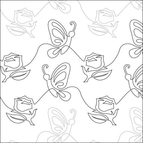 Butterfly Rose - quilting pantograph