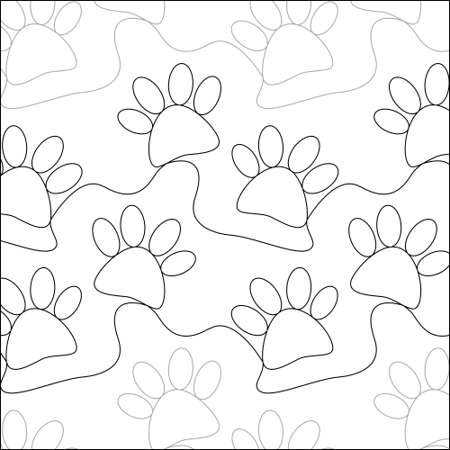 Rizzo's Paw Prints - quilting pantograph