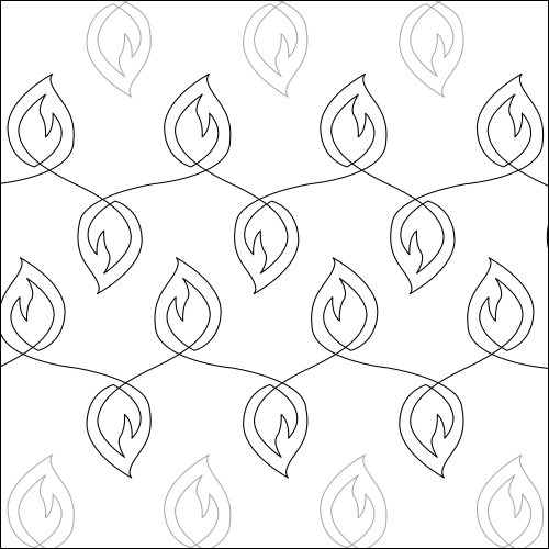 Flame Leaves - quilting pantograph