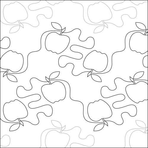 Teacher's Apple - quilting pantograph