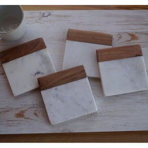 Set of 4 Wood and Marble Coasters Personalize